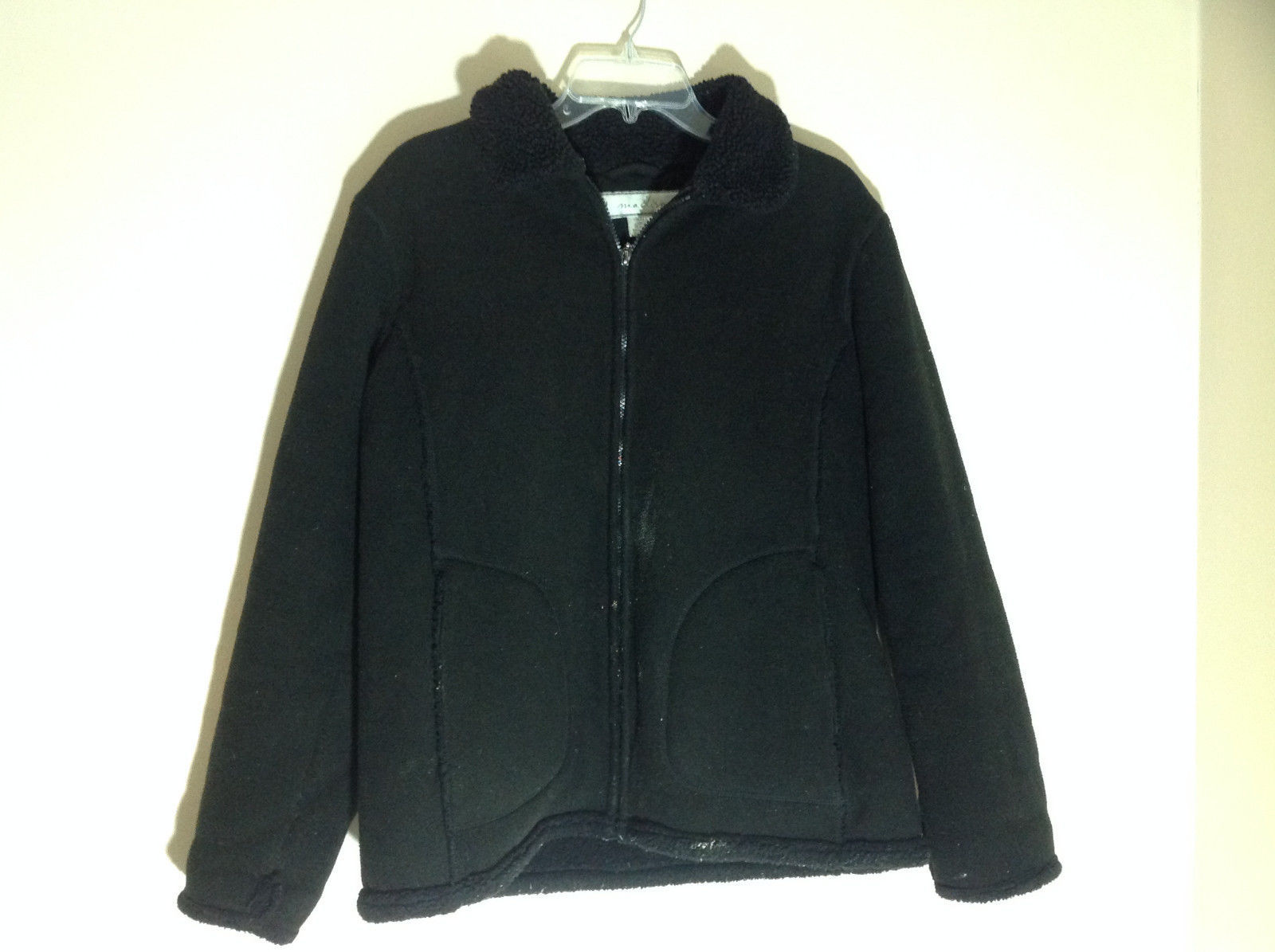 Madison Black Zip Up Fuzzy Winter Jacket Front Pockets Very Thick Size Small