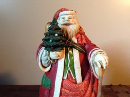 Large Resin Santa Figurine Red with Small Christmas Tree image 2