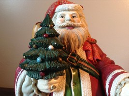 Large Resin Santa Figurine Red with Small Christmas Tree image 5