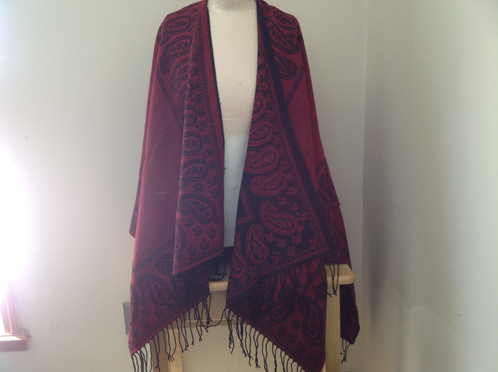 Magic Scarf Red and  Black Beautiful Design Shawl with Black Tassels