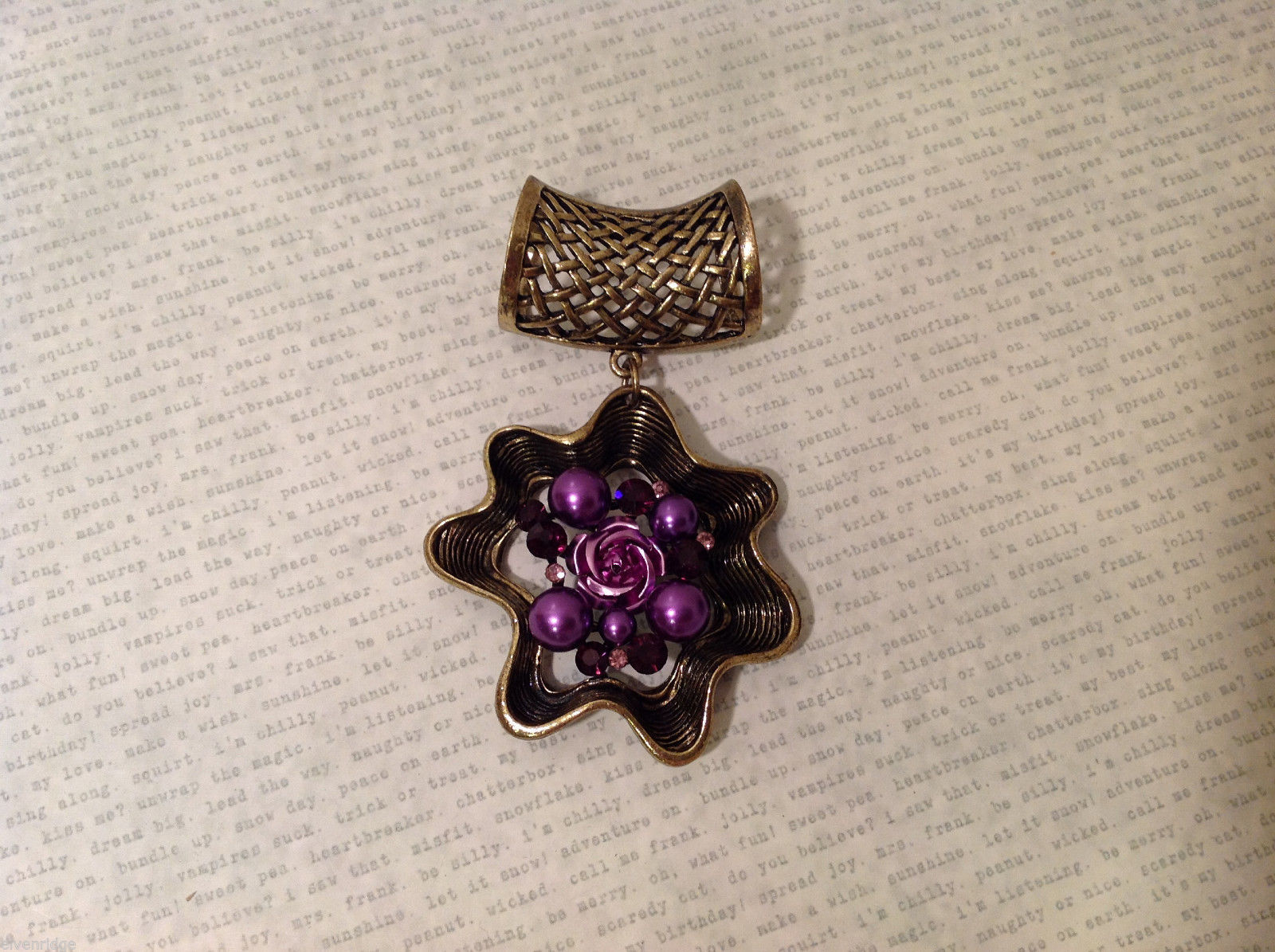 Magic Scarf Gold Tone Flower Shaped Scarf Pendant Purple Crystals and Beads