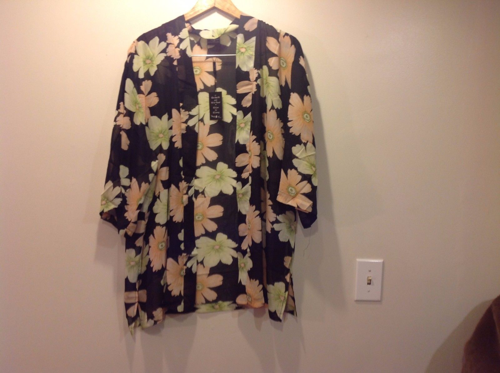 Magic Scarf Mini Pleats Peach Green Kimono With Belt New One Size fit All