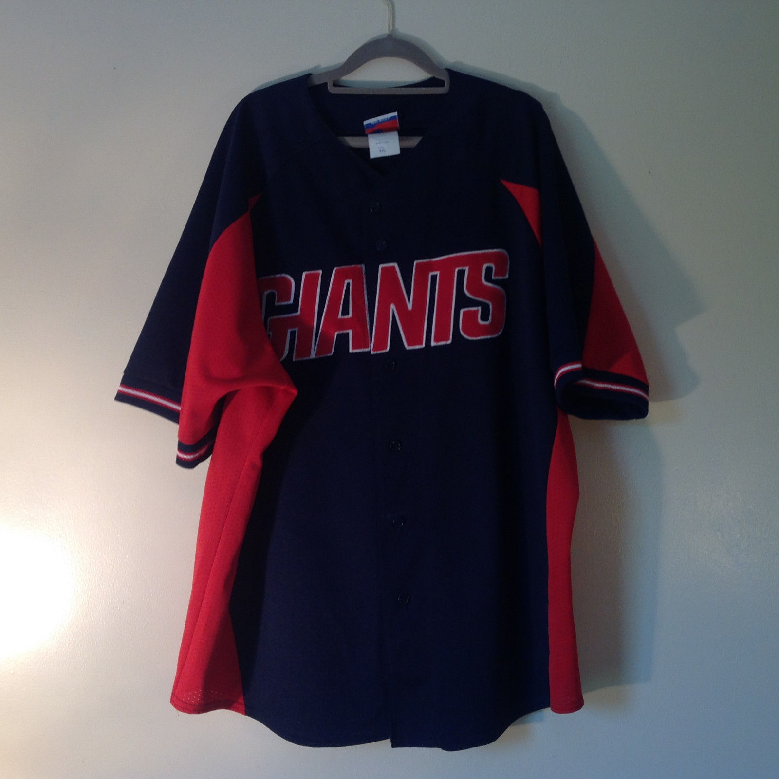Majestic GIANTS Short Sleeve Navy Blue Red and White Button Down Shirt Size XXL
