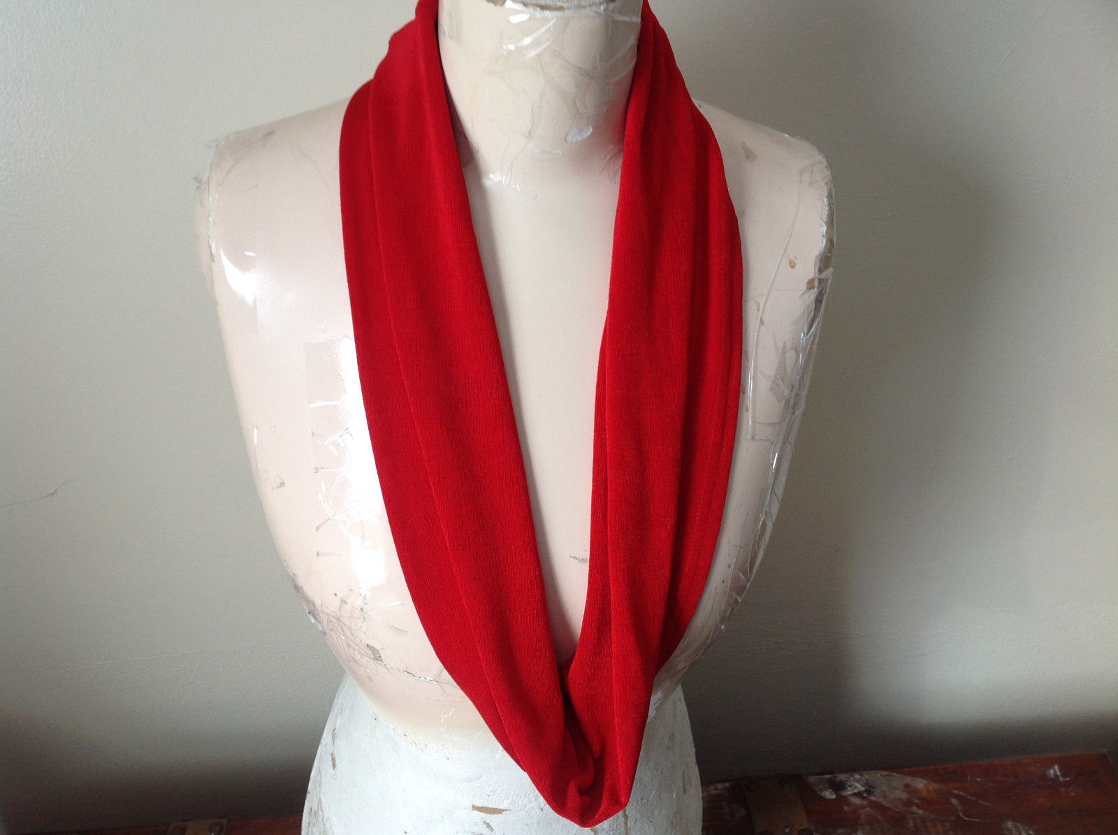 Magic Slinky Infinity Red Ring Scarf with Spandex See Measurements Below