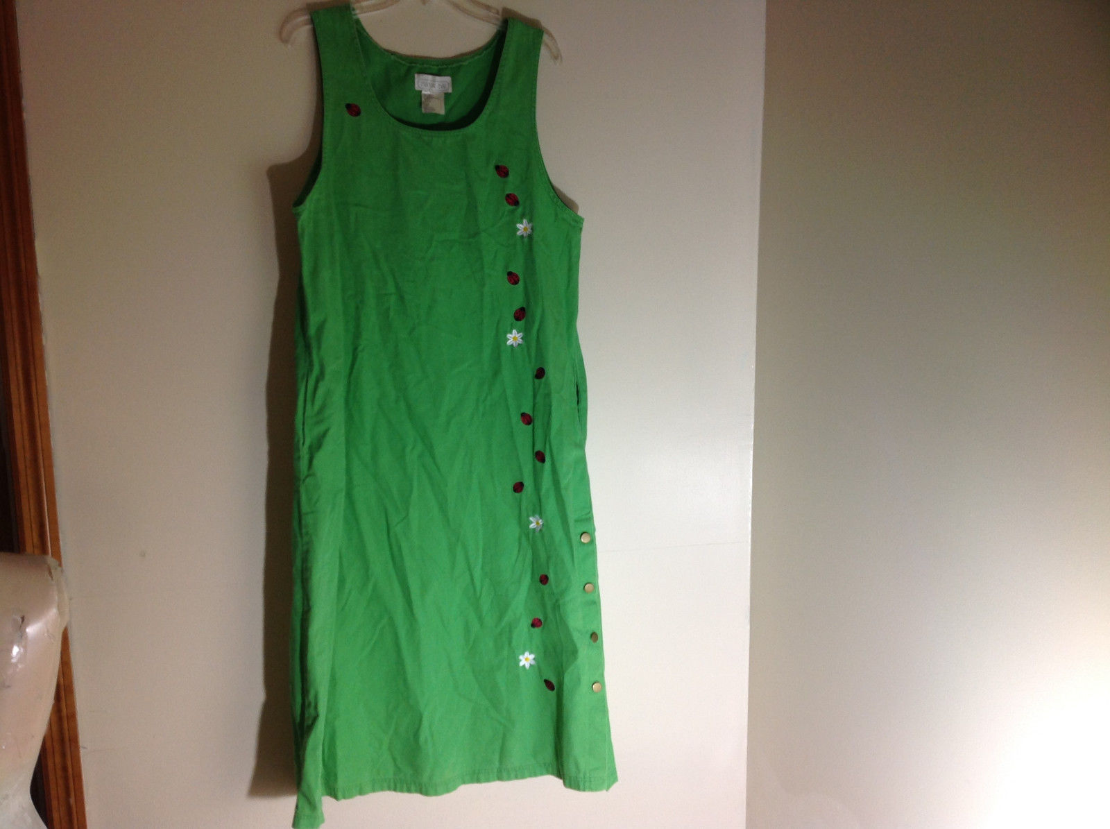 Mandal Bay Full Length Sleeveless Green Decorated Dress Pockets Size XL