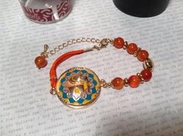 Mandala Elephant Orange Beads Marcella Bracelet Nobility Dignity Pride Gold Tone
