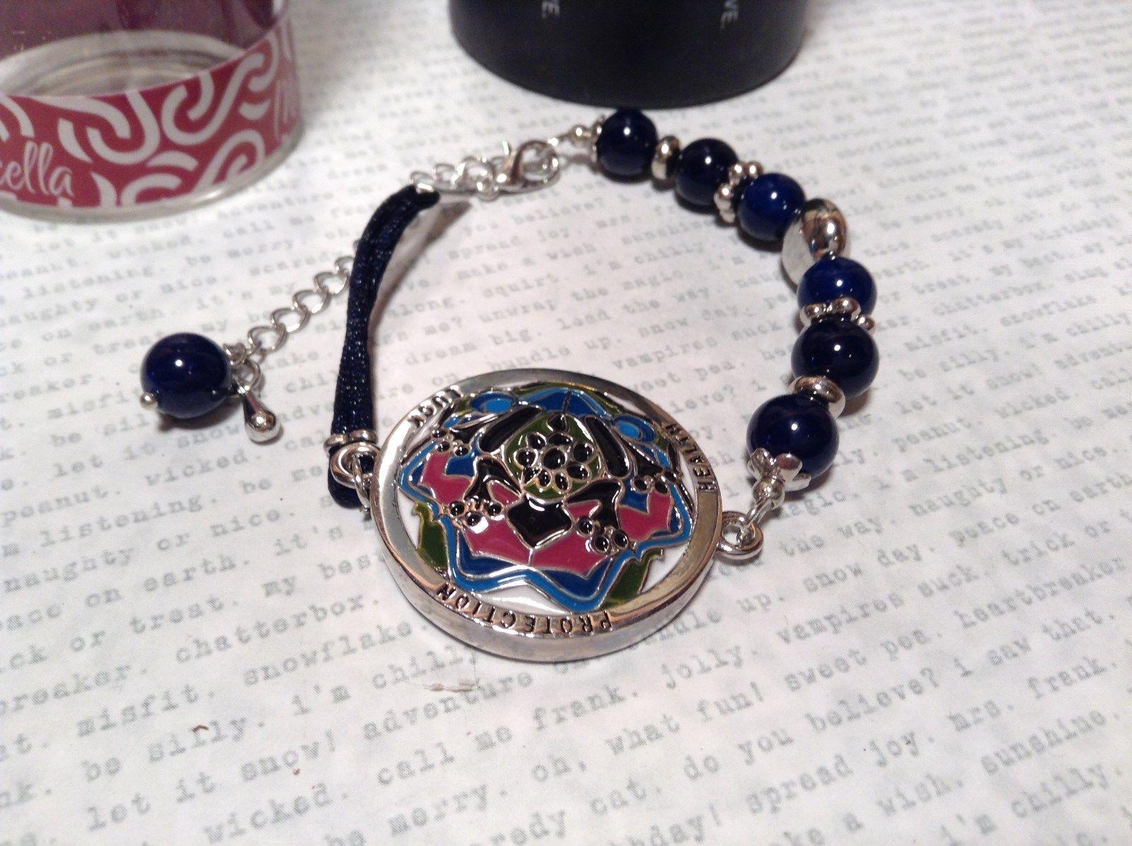 Mandala Frog Dark Blue Beads Adjustable Length Marcella Bracelet Health Luck