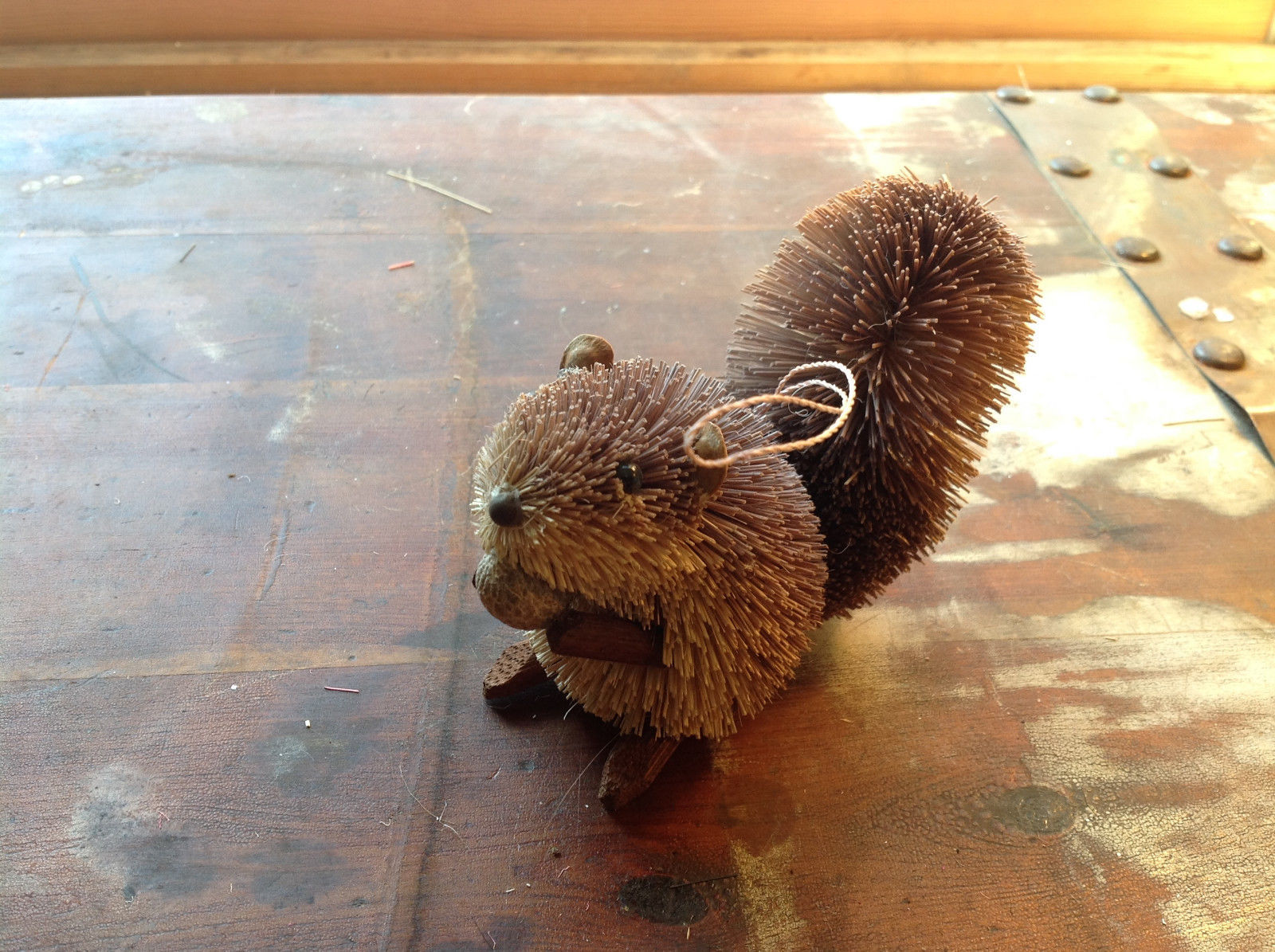 Palm Fiber Gray Squirrel with Nut  Brush Ornament  Eco Fiber Sustainable