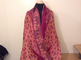 Peacock Design Dark Pink Gold Reversible Shawl Scarf by Magic Scarf
