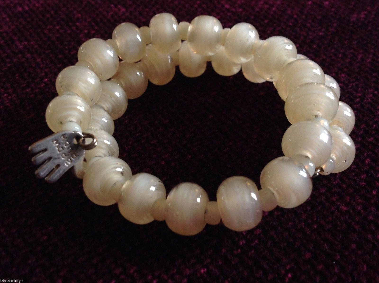 Pearlescent Glass translucent white Memory Wire Bracelet Handmade Lampwork