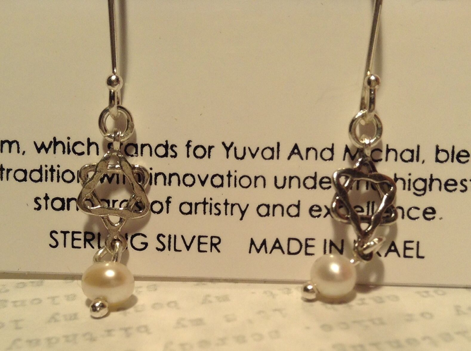Pearls Star of David Handmade Sterling Silver Judaica Earrings 925 Sterling