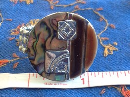 Large resin Abalone antique inspired silver cabuchon statement ring one size image 6