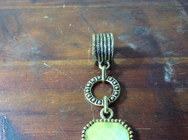 Large Yellow Stone Attached to Chain Gold Tone Vintage Style Scarf Pendant image 4
