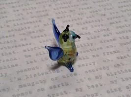 Miniature small hand blown glass light yellow horned owl blue wings made USA NIB image 2