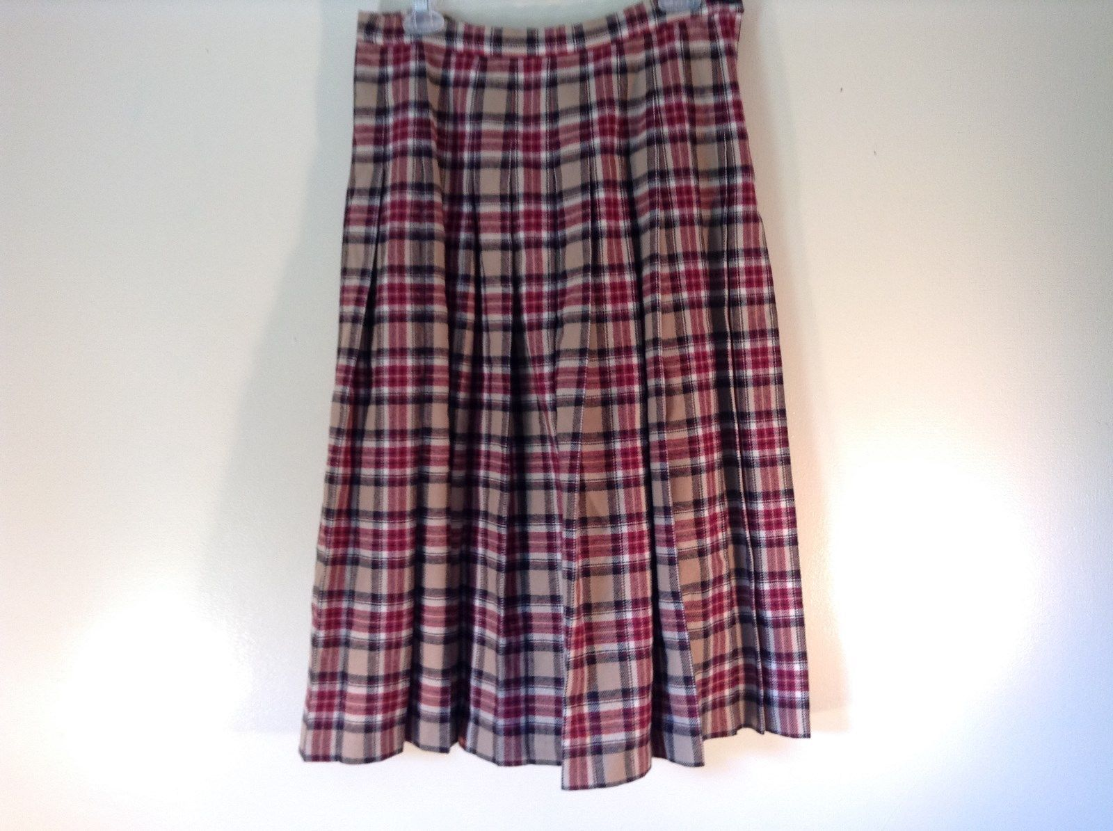 Pendleton Pure Virgin Wool Pleated Plaid Skirt Burgundy Beige Made In USA