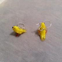 Miniature small hand blown glass made USA NIB yellow canary bird  earrings image 3