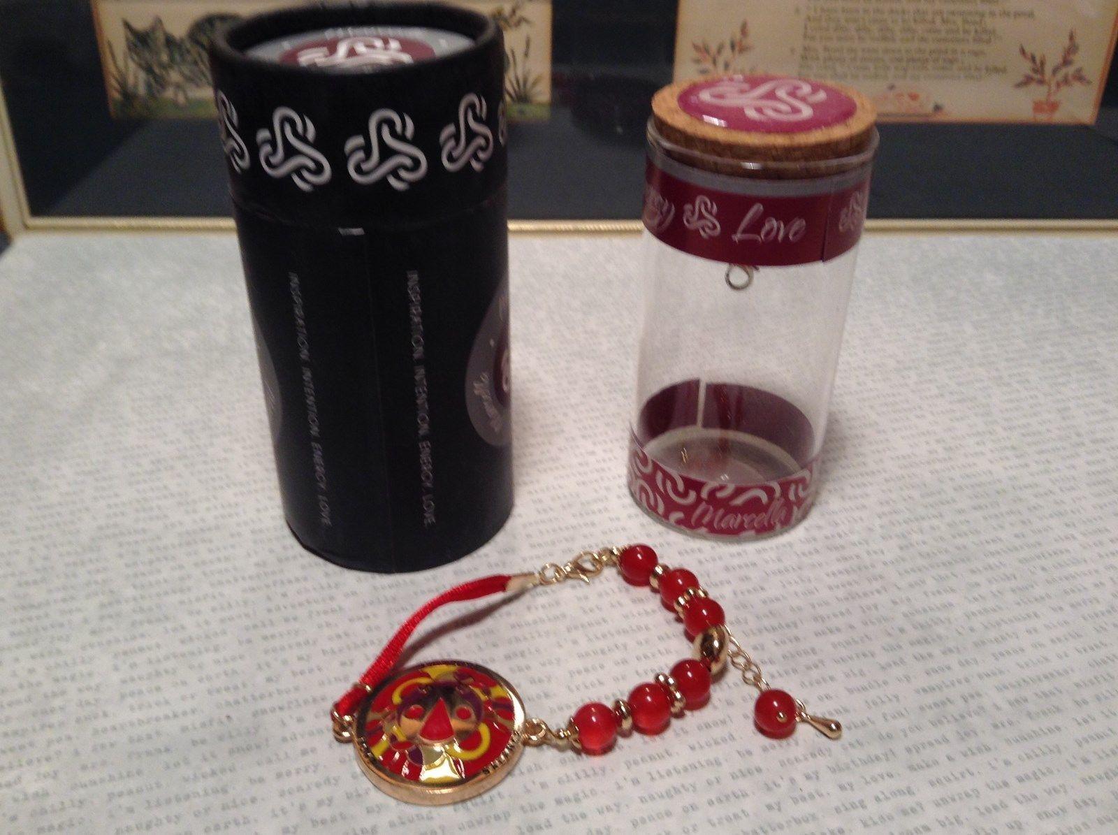 Mandala Ladybug Red Beads Marcella Bracelet Love Fortune Balance Gold Tone