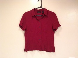 Maroon Colored Button Up Short Sleeve Shirt New York and Company Size Large