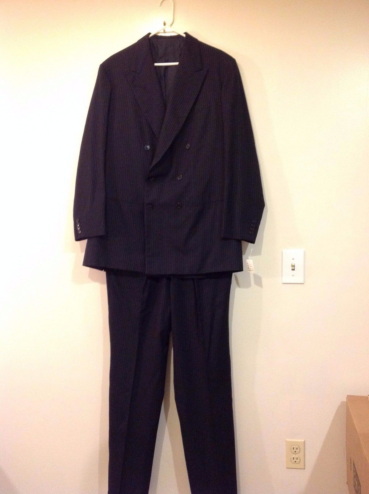 Man's Tall size two piece suit jacket pants pinstripe worsted wool black gray