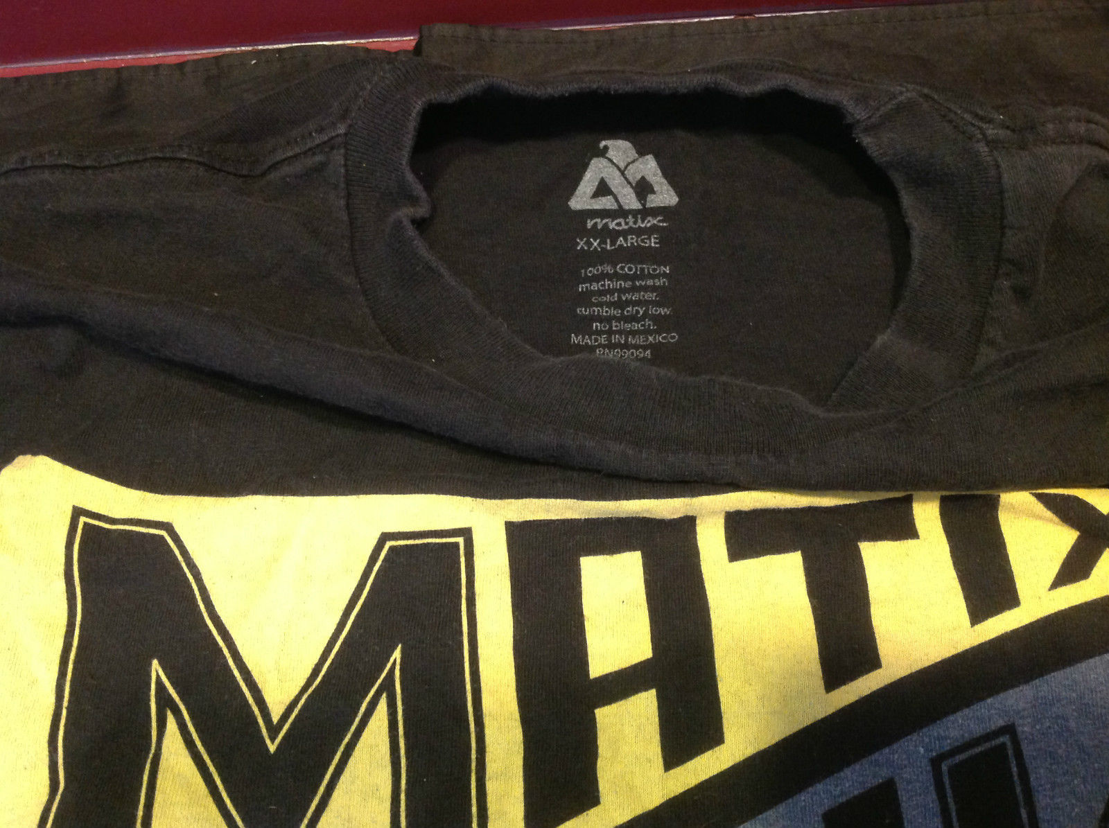 Matix Mens Black Graphic T-Shirt Matix on Front Size XXL