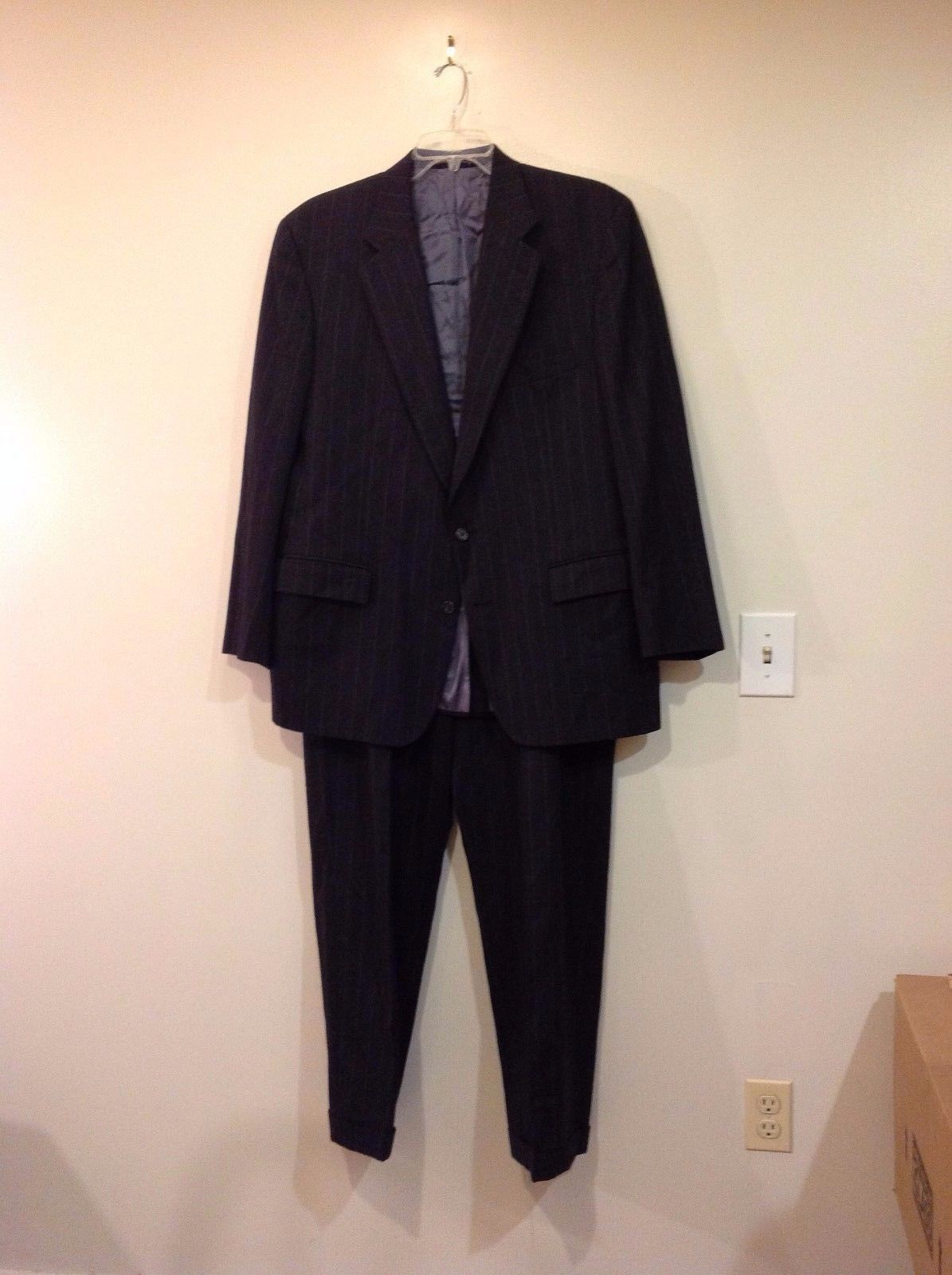 Man's custom made two piece suite black w chalk stripe big tall Richilson's