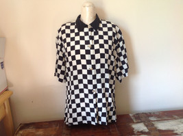 Max Mara Black and White Checkered Short Sleeve Button Down Blouse No Size
