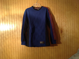 Marika Gym Long Sleeve Blue with Black Red and White Sweater Size Small