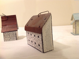 Mixed Lot of 3 Vintage Look Rustic Hand Made Wooden Birdhouse Ornaments image 7