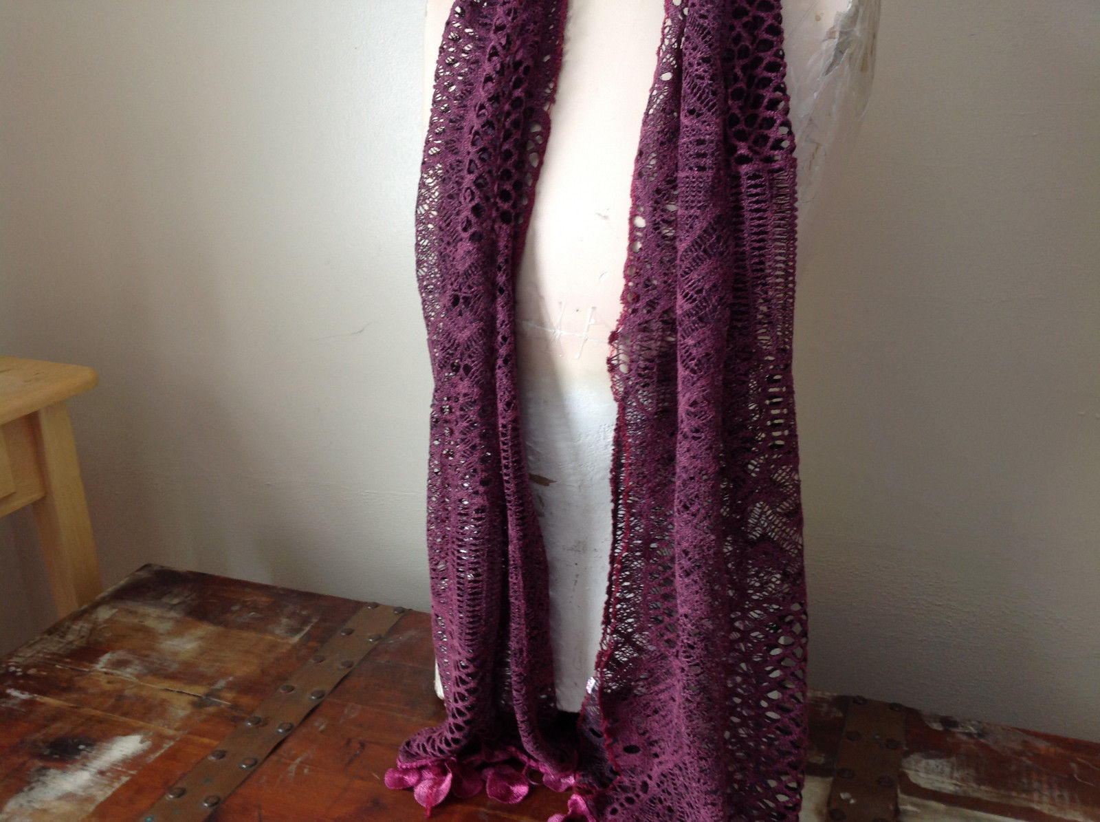 Medallion Lace Fringe and Lacey Burgundy and Pink Scarf