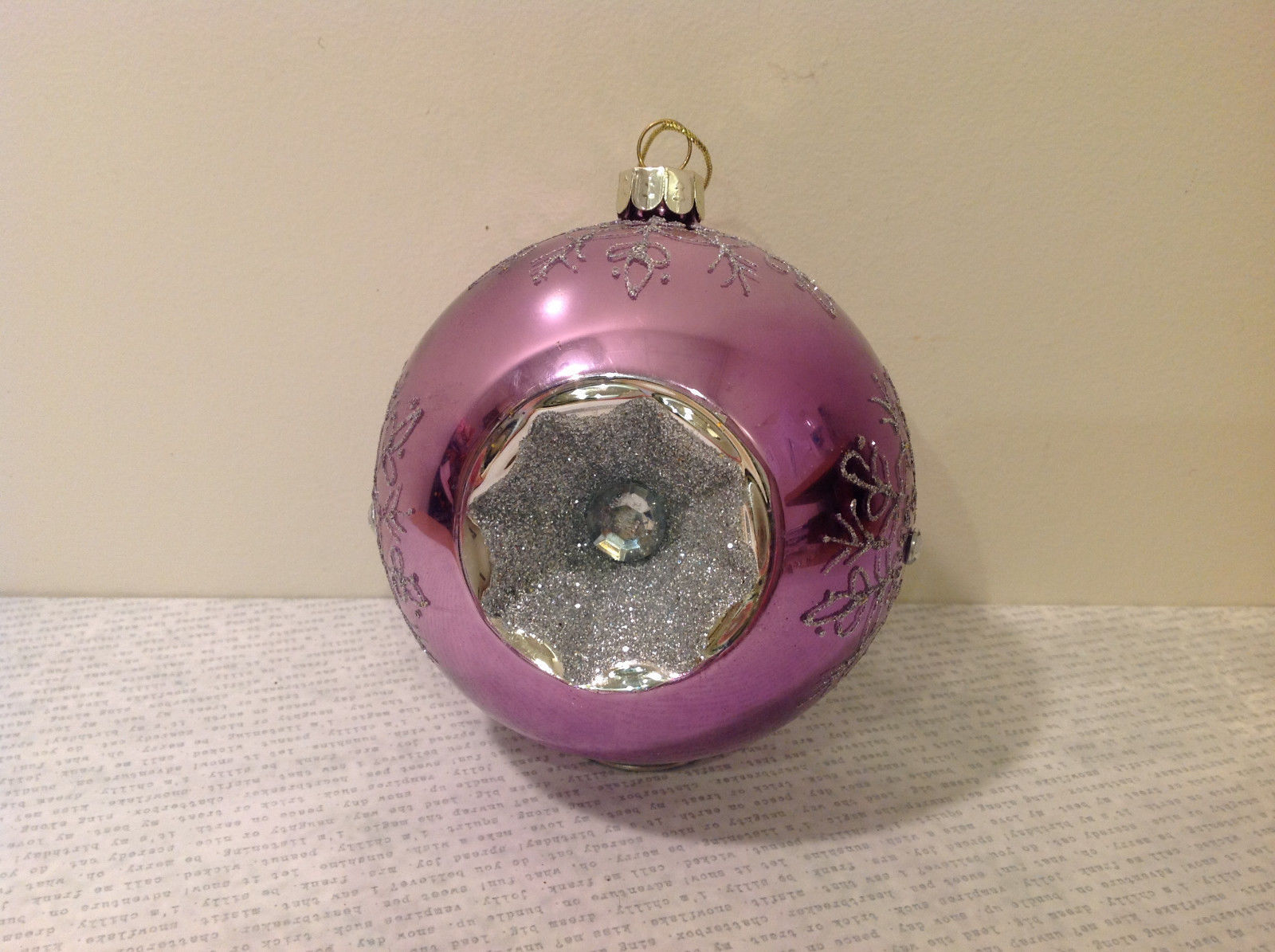 Melrose Glass Chirstmas Tree Ball Ornament Snowflakes Light Violet