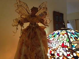 Angel Christmas tree or table topper Gold Angel w glitter petals wings 15 inches image 3