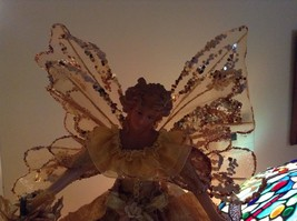 Angel Christmas tree or table topper Gold Angel w glitter petals wings 15 inches image 6