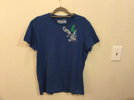 Mens American Eagle Blue White Eagle decal 100% cotton short sleeve T-shirt, Med