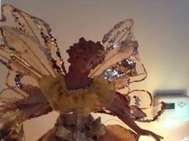 Angel Christmas tree or table topper Gold Angel w glitter petals wings 15 inches image 2