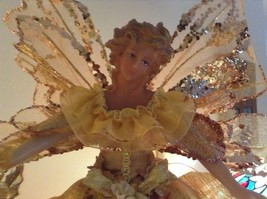 Angel Christmas tree or table topper Gold Angel w glitter petals wings 15 inches image 10