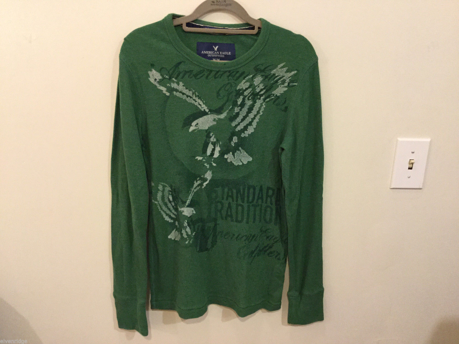 Mens American Eagle Green White Eagle design cotton long sleeve T-shirt, Size M