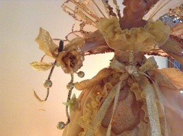Angel Christmas tree or table topper Gold Angel w glitter petals wings 15 inches image 9