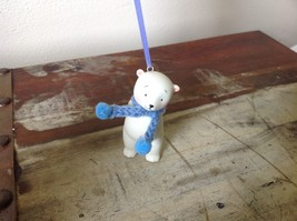 Miniature white ceramic bear w knit scarf color choice dept 56 new image 3