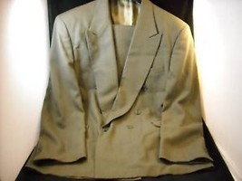 Mens HARVE BERNARD double breasted olive gray suit