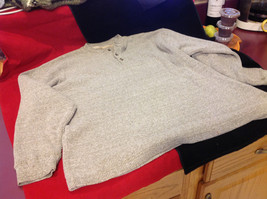 Mens Heathered Light Brown Long Sleeve Thermal Henley size Medium or Large image 1