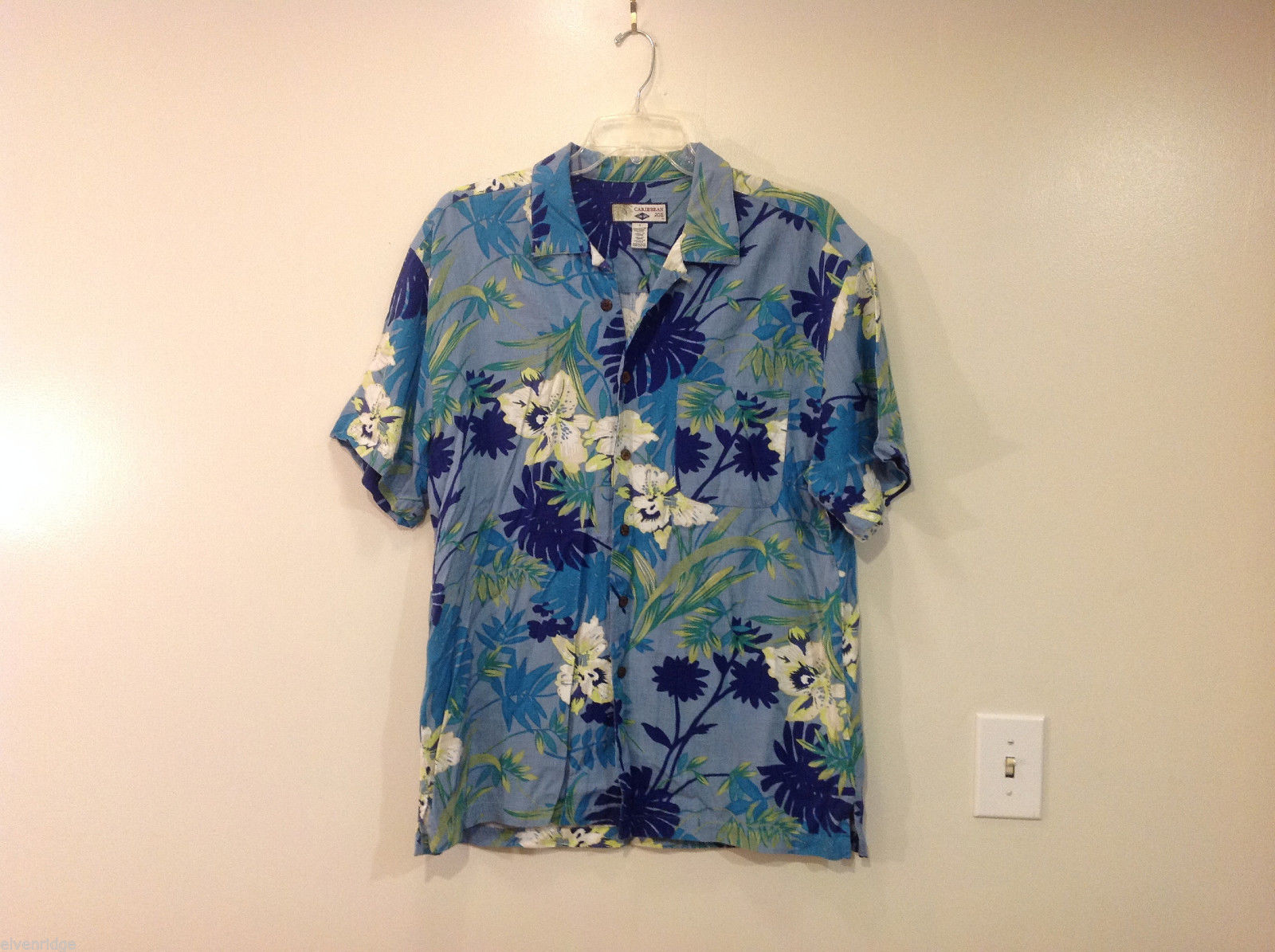 Mens Caribbean Joe 100% Rayon Summer Blue Green White Tropical Shirt, Size L