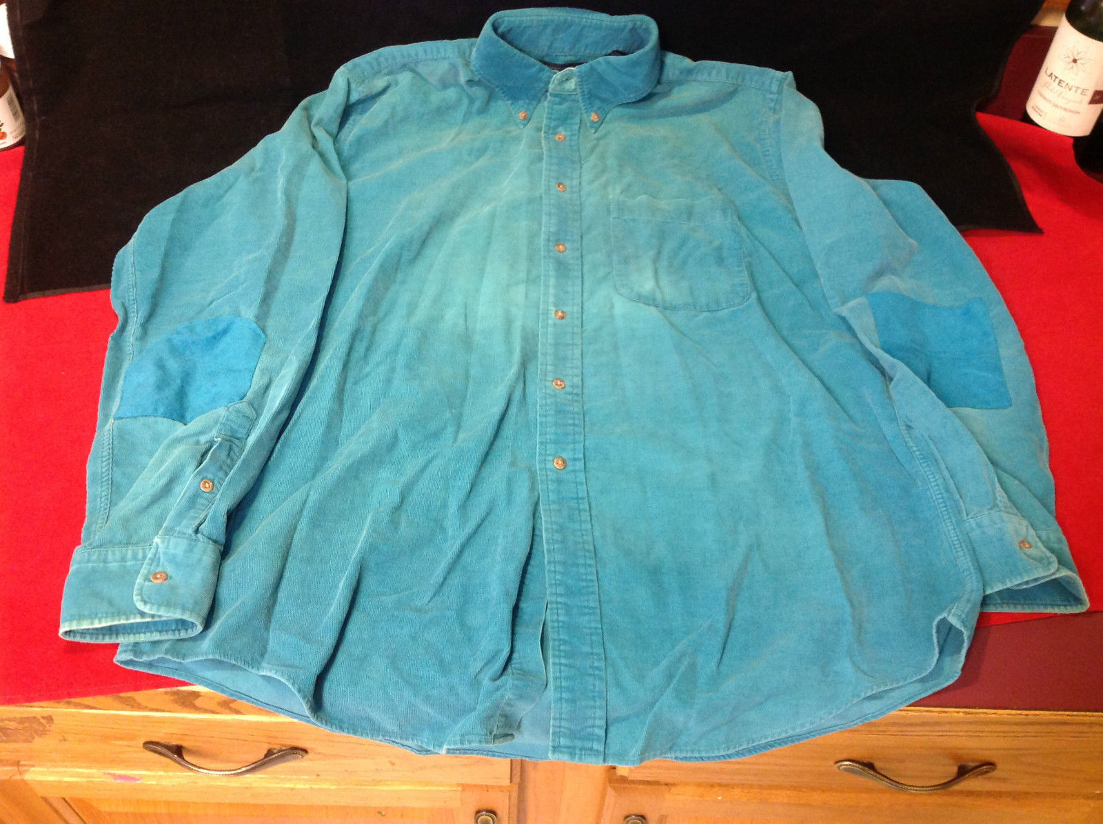 Mens Blue Casual Shirt Lands' End Patched Elbows Very Good Condition Size Large