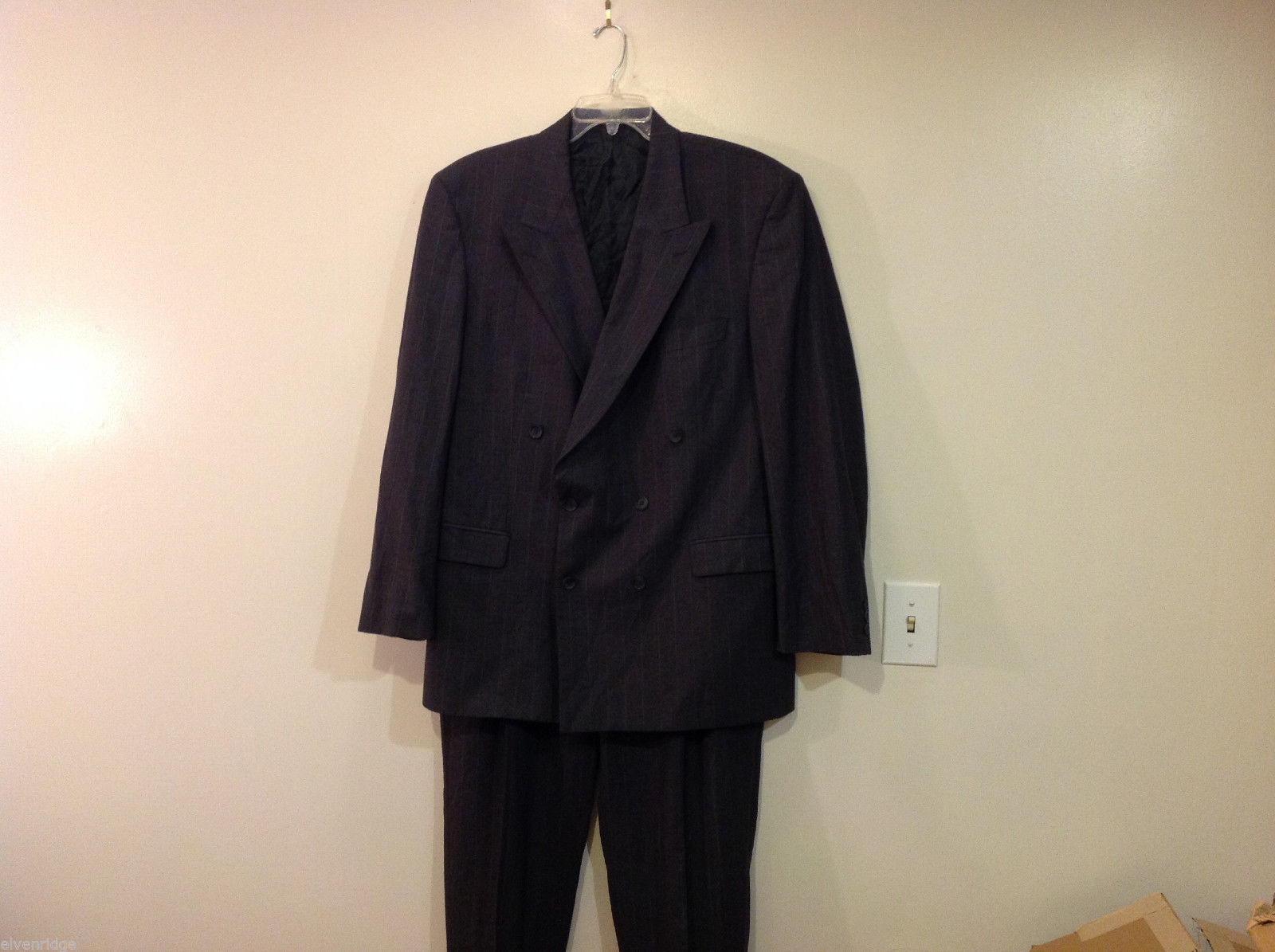 Mens Marks & Spencer two piece suit dark gray chalk stripe wool lycra Size 44L
