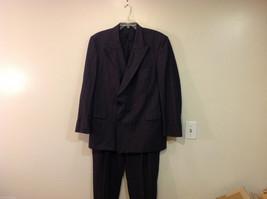 Mens Marks & Spencer two piece suit dark gray chalk stripe wool lycra Size 44L