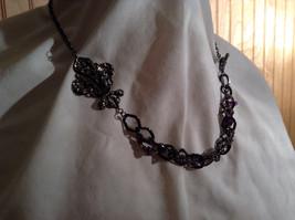 Amethyst Stone Dark Tone Chain Barcelona Style Necklace Very Elegant Design image 2