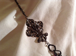 Amethyst Stone Dark Tone Chain Barcelona Style Necklace Very Elegant Design image 3