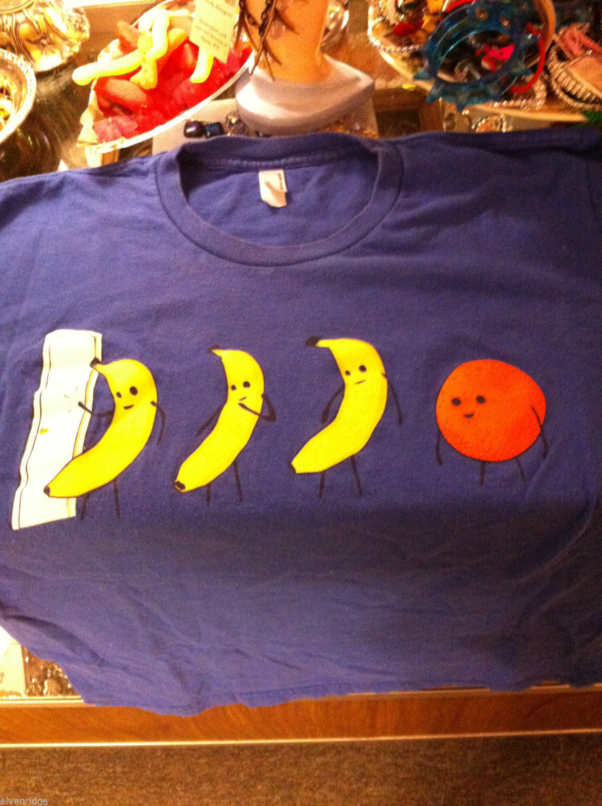 Men's style blue T-shirt M Orange You Glad I didn't say Banana?