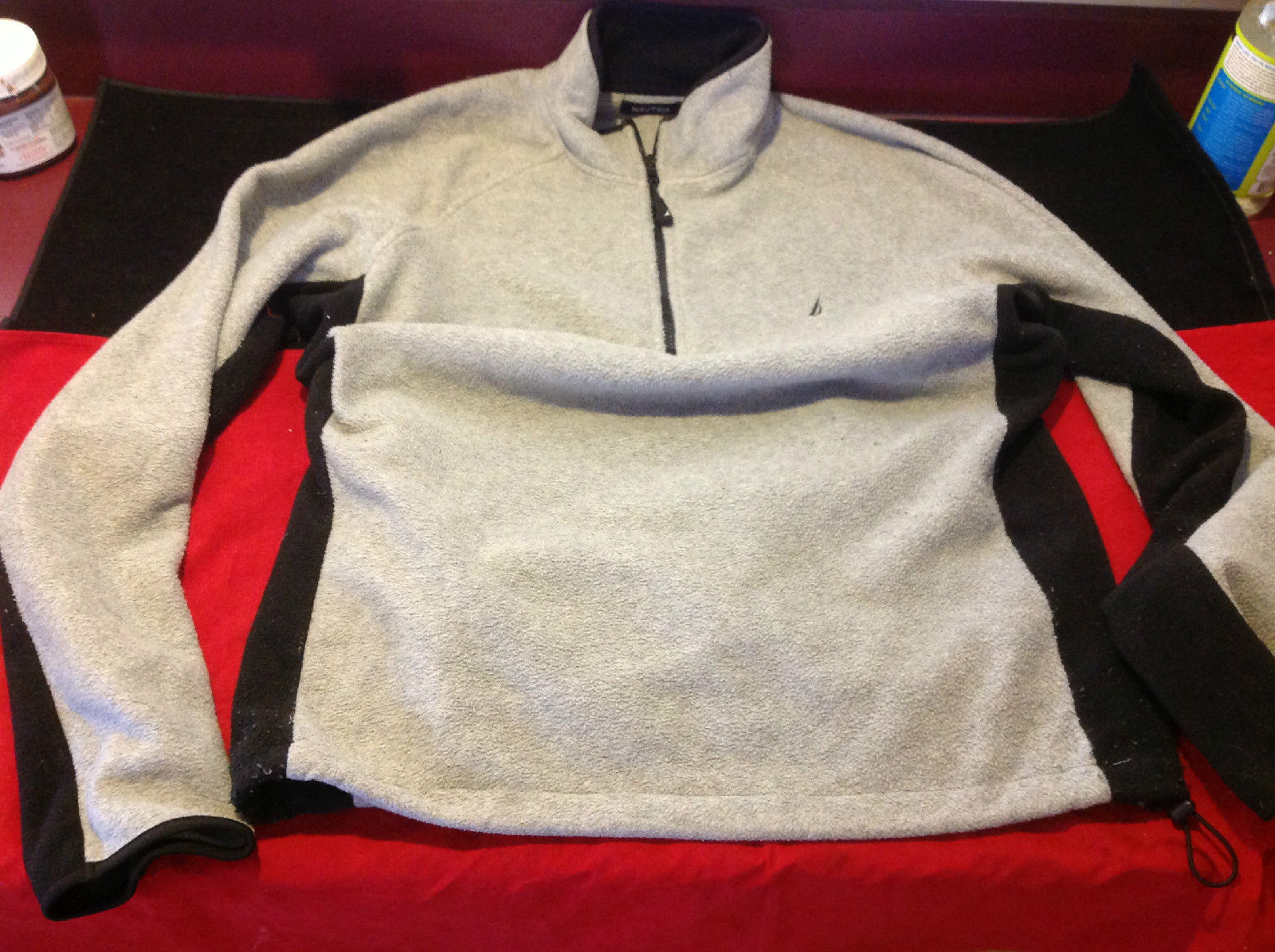 Mens Pullover Nautica Gray Fleece Sweater Black Sides and Sleeves Size Large