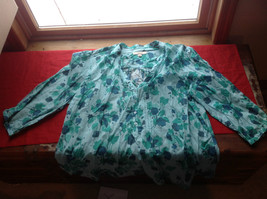 Merona Floral (Green, Blue, Light Blue) 3/4 Length Sleeves Shirt Size 20W/22W