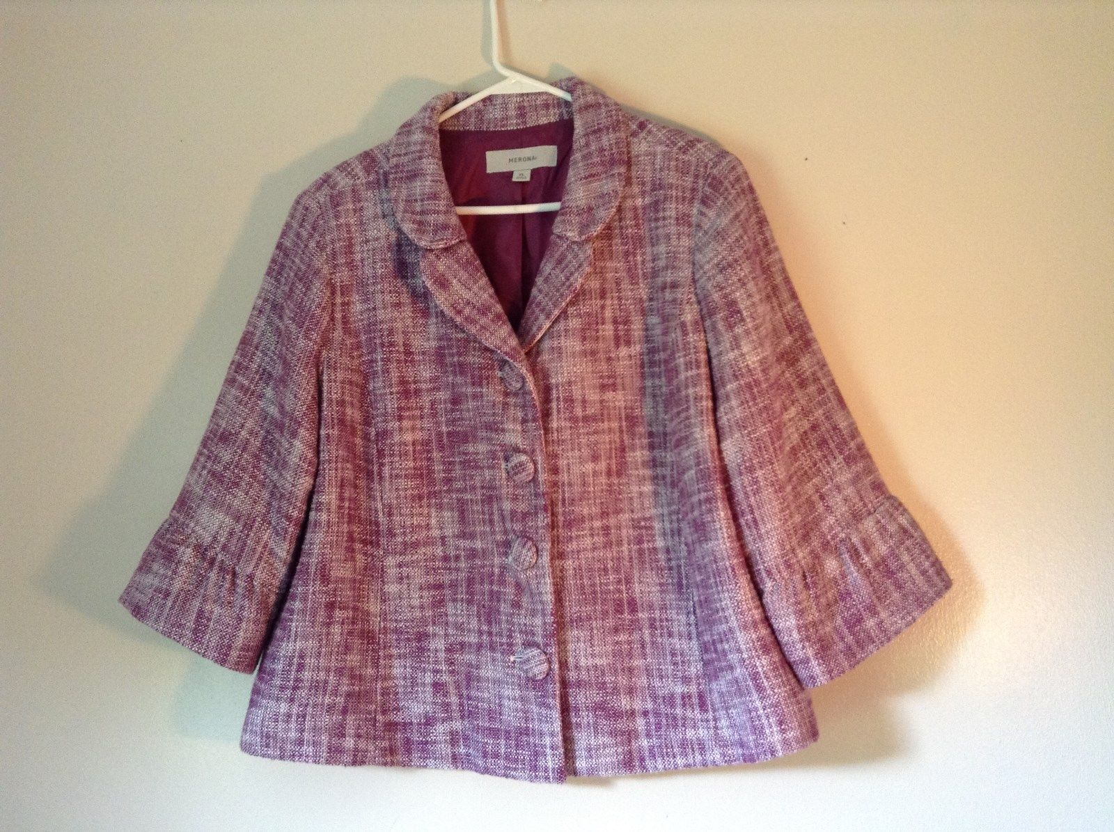 Merona Lined Blazer Purple and White Semi Long Sleeves 100% Cotton Size XL